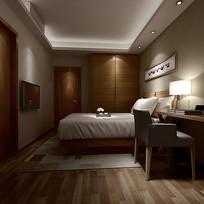 现代木制书柜家装卧室3D