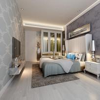 现代欧式简约室内卧室3D