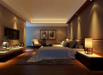 现代室内卧室灯光3D模型