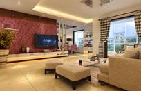 现代温馨室内家装客厅3D