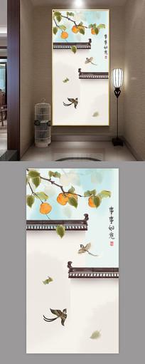 新中式工笔花鸟玄关画装饰画