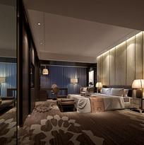 中式高级室内卧室3D模型