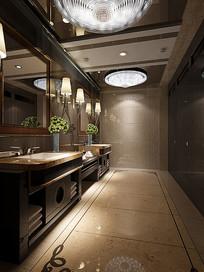 中式古典室内卫生间3D模型