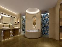 中式古典室内洗手间3D模型