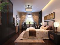 中式简约室内卧室3D模型