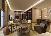 中式家装室内喝茶区3D