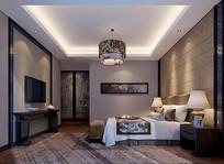 中式水墨画元素室内卧室3D