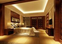 中式元素家装卧室3D模型