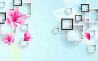 紫色花朵方框3D背景墙
