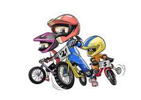 自行车比赛插画 PSD
