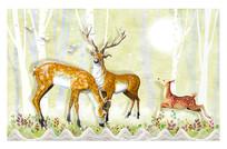 3D麋鹿壁画装饰背景墙