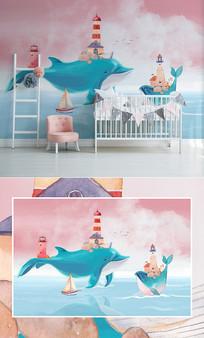 北欧创意手绘鲸鱼儿童房背景墙
