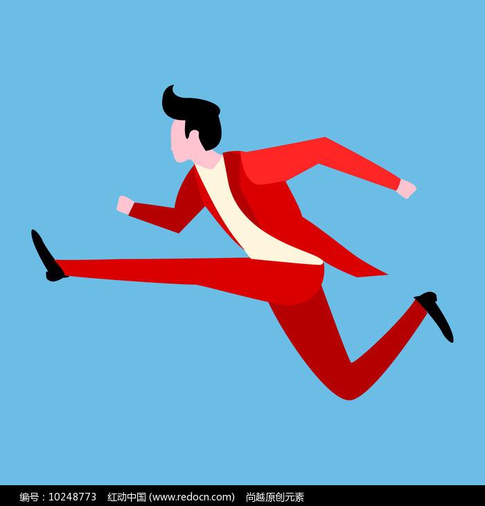 扁平奔跑人物元素设计