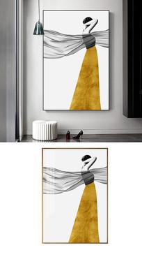抽象性感人物手繪裝飾畫金色