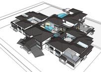 徽派新中式建筑模型