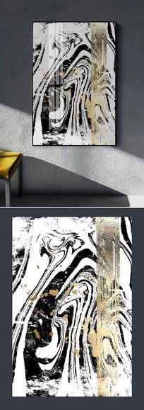 新中式金箔水墨笔触装饰画