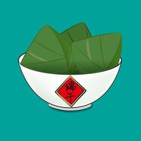 原创元素端午节手绘一碗粽子