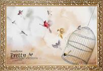 抽象艺术花鸟装饰画背景墙