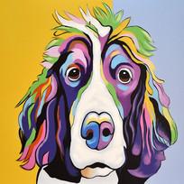 高清宠物狗油画无框画