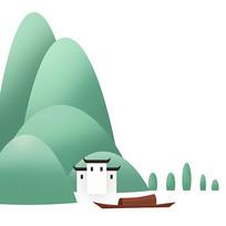 清明手绘插画山水元素