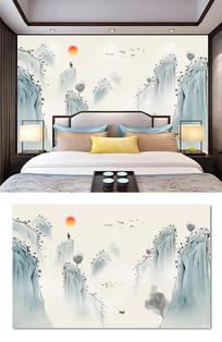 新中式水墨山水画背景墙装饰画