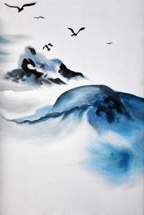 高清抽象艺术山脉飞鸟油画无框画