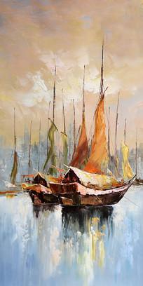 高清立体欧式一帆风顺油画玄关
