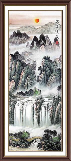 国画山水竖幅装饰画