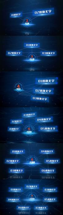蓝色科技项目分类效果AE模板