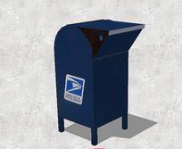 深蓝色铁质信箱 skp