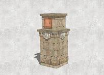 石头材质信箱模型 skp