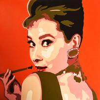手绘欧式美女油画图