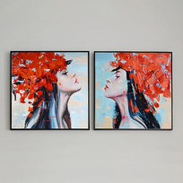 现代女人装饰组合方形油画