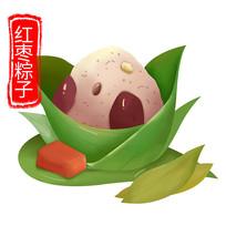 原创元素手绘红枣粽子