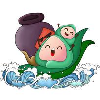 原创元素手绘粽子划船