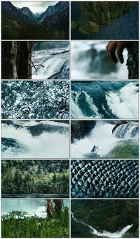 壮丽森林河流大自然景观视频素材