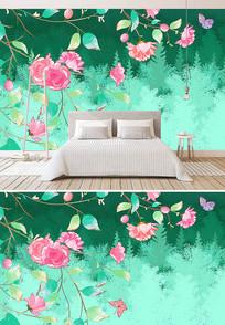 创意小清新花朵唯美背景墙