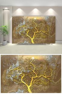 大理石森林麋鹿壁画背景装饰画