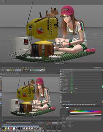 电玩女孩模型