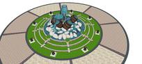 酒桶样式水景池SU模型