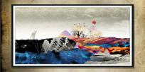 现代抽象画水墨油画装饰画