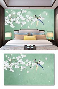 新中式手绘工笔玉兰花鸟背景墙装饰画