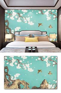 新中式手绘玉兰花工笔花鸟背景墙壁画