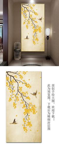 原创银杏手绘工笔花鸟玄关背景墙装饰画