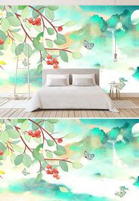 中式山水画背景墙壁纸壁画