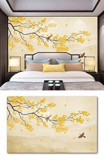 中式手绘银杏工笔花鸟山水水墨背景墙装饰画