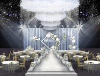 白绿小清新婚礼背景板 PSD