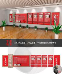 红色公司简介文化墙设计
