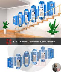 蓝色微粒体楼梯文化墙设计