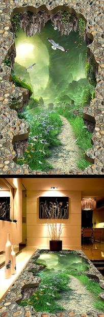 梦幻森林小路浴室厨房3D地板